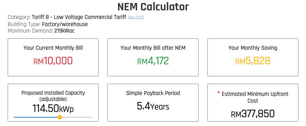 Commercial Solar Rooftop NEM Calculation