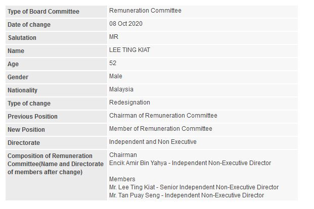 Announcement: Change in Remuneration Committee (Lee Ting Kiat) - 01